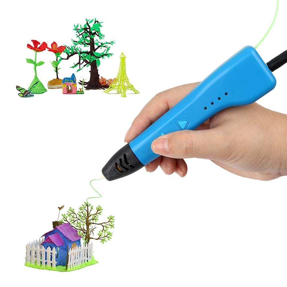 SOYAN Intelligent 3D Pen for Kids and Adults, Come with ABS Filament Sample and Drawing Templates (Blue) Siyan 3D006
