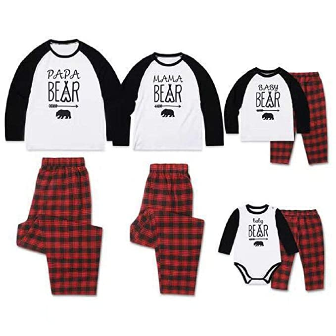 66b1729901 Family Matching Pajamas Set PAPA Mama Baby Bear Printed Two Piece Pjs  Sleepwear with Plaid Pants at Amazon Women s Clothing store