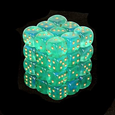 Chessex Dice d6 Sets: Borealis Light Green with Gold - 12mm Six Sided Die (36) Block of Dice : Toys & Games