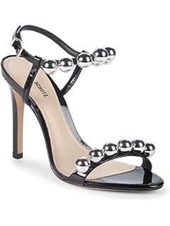 Schutz Women/'s Malinda Black Patent Leather Open Toe Strappy Formal Sandal Pumps