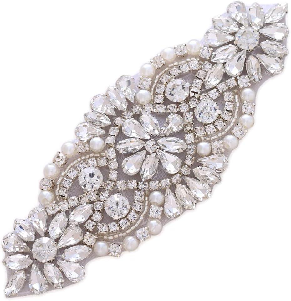 5559 Mirror applique 2 pieces beaded sequin applique/' wedding embellishment