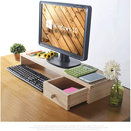 Amazon Com Haolistore Wooden Monitor Stand Desktop Monitor Riser