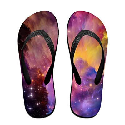 Aurora Space Art Red Rainbow Star Pattern Flip Flop Sandals, Great For Beach Or Casual Wear
