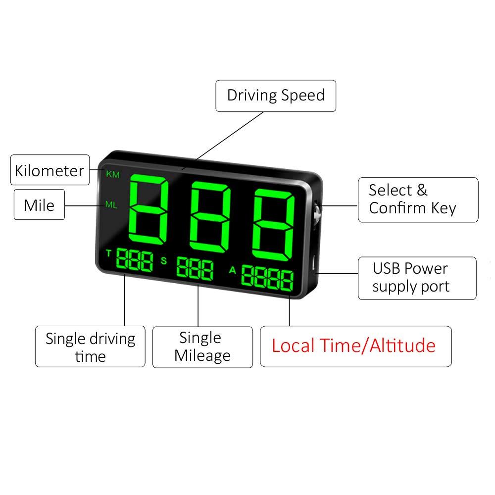 Mioloe Universal HUD GPS Veloc/ímetro Digital mph Advertencia de Exceso de Velocidad Inal/ámbrico Bicicleta Coche Motocicleta Veloc/ímetro