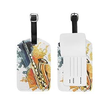 Amazon.com: DEYYA Saxofón etiqueta de equipaje de piel ...