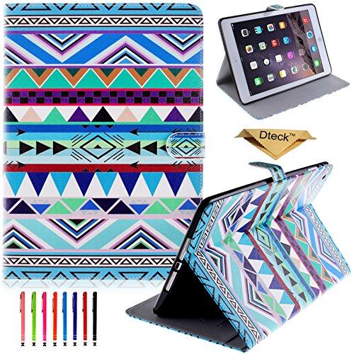 iPad Mini Case, Dteck(TM) Colorful Painting Cute Design Slim PU Leather Pocket Case [Card/Cash Slots] for Apple iPad Mini 3/2/1 (1 Green Tribal) (Ipad Mini 3 Case Tribal)