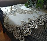 Galleria di Giovanni Table Runner Dresser Scarf Taupe Lace Antique White 30 Inch PLUS Doily 2 piece Set Earth