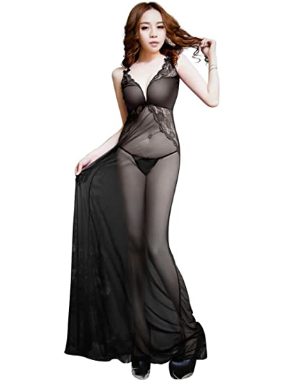 f1407349764 Amazon.com  Theone Apparel Sheer Lace Full-Length Lingerie Gown  Clothing