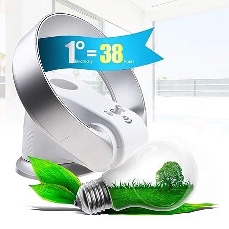 Ventilador sin aspas Ventilador de Control Remoto montado en la Pared y de enfriamiento Vertical montado en la Pared del Escritorio del Piso de la casa Ultra silenciosa,Gray