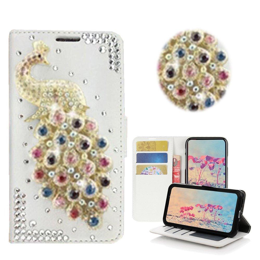 STENES LG V20 Case - Stylish - 3D Handmade Bling Crystal Peacock Desgin Wallet Credit Card Slots Fold Media Stand Leather Cover Case - Multicolor