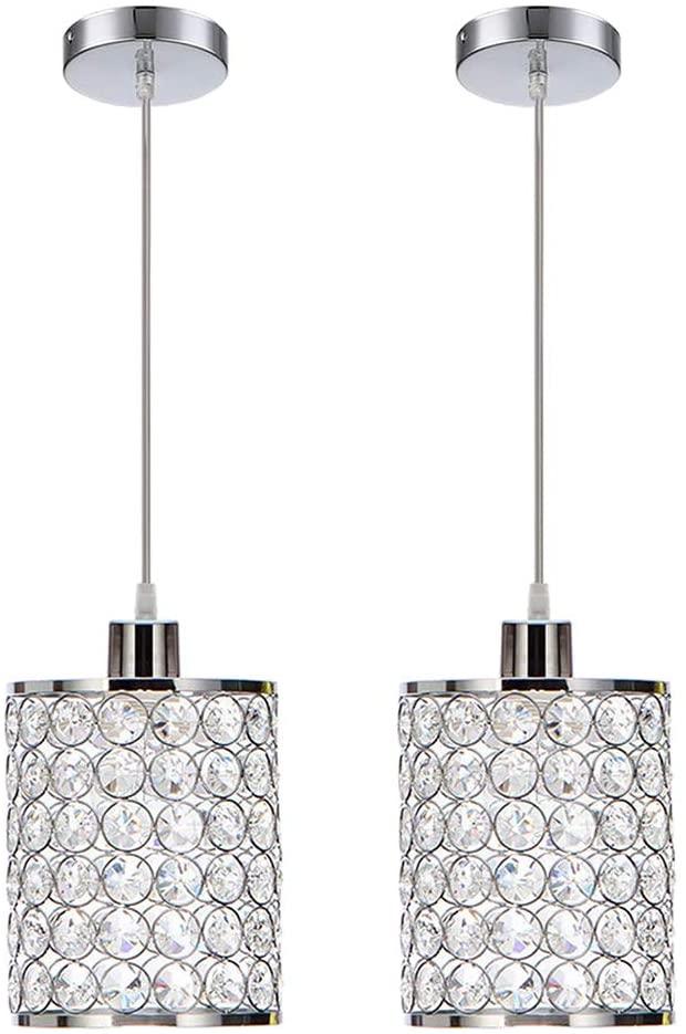 MonDaufie 2 Pack Crystal Pendant Light,Adjustable Ceiling Pendant Lighting for Kitchen Island,Dining Room,Bar,Dimmable Chandelier,Chrome Finish