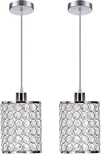 MonDaufie 2 Pack Crystal Pendant Light,Adjustable Ceiling Pendant Lighting
