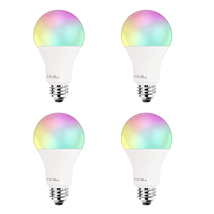Smart LED Light Bulb A21 by 3Stone, WiFi App Controlled UL Listed, Dimmable White and RGB Colors 100W Equivalent, Works Perfect with Amazon Alexa Google Assistant IFTTT (4 Pack)