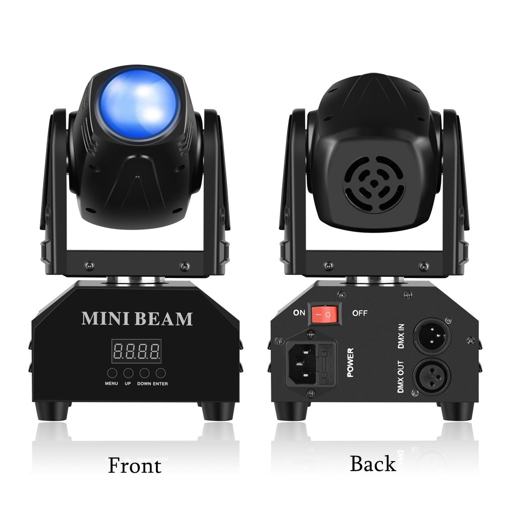 Mini Moving Head Stage Light RGBW (4 in 1) DMX512 Beam Spot LED Lighting Effect 11/13 CH for DJ Disco Club Party Dance Wedding Bar Theater Pub Christmas (1 Pack) by LeeNabao