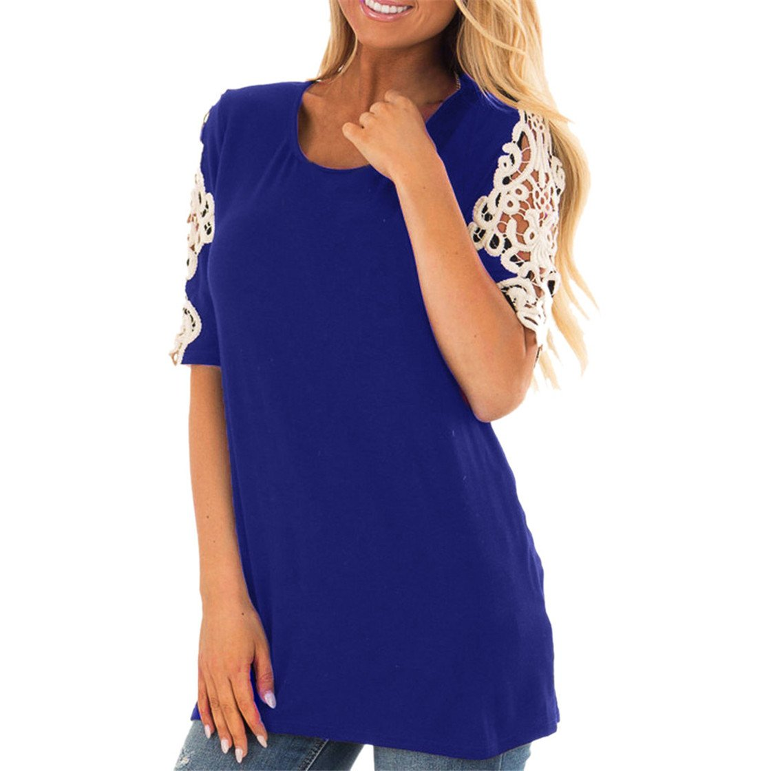 Mose Shirts for Women, Fashion Women Casual Blouse Short Sleeve O Neck Lace Stitching Patchwork Crop Tops Solid T-Shirt New (L, Blue)