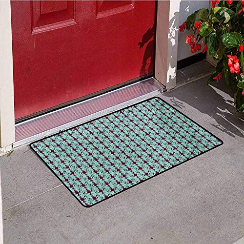 Jinguizi Damask Welcome Door mat Flowers and Vase Silhouette with Ornate Swirls on Pastel Toned Background Door mat is odorless and Durable W47.2 x L60 Inch Purple Pale Green ()
