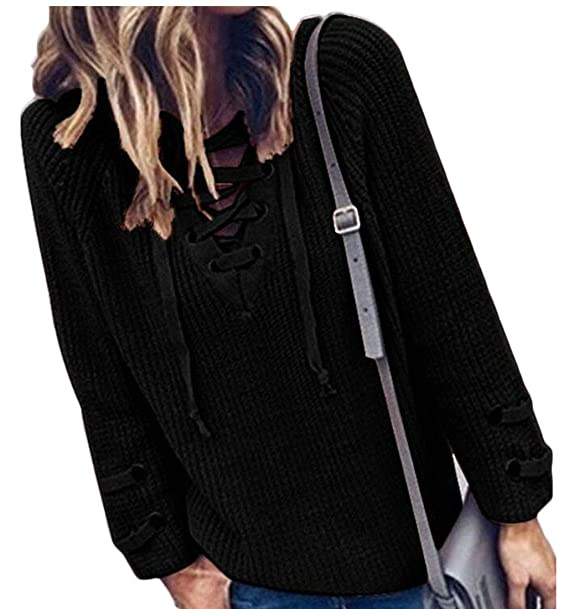 799eb68a7c BYWX Women Long Sleeve Lace up Front V Neck Jumper Knit Pullover Sweater  Black US XS