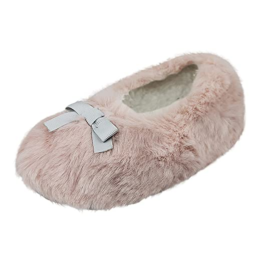 Amazon.com | Kids Girls Sweet Hairy Thermal Winter Slippers Ankle ...
