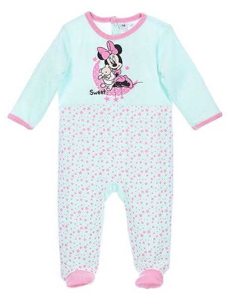 44b65452fa0d3 Pyjama velours bébé fille Minnie Rose et Turquoise de 3 à 23mois (6 mois