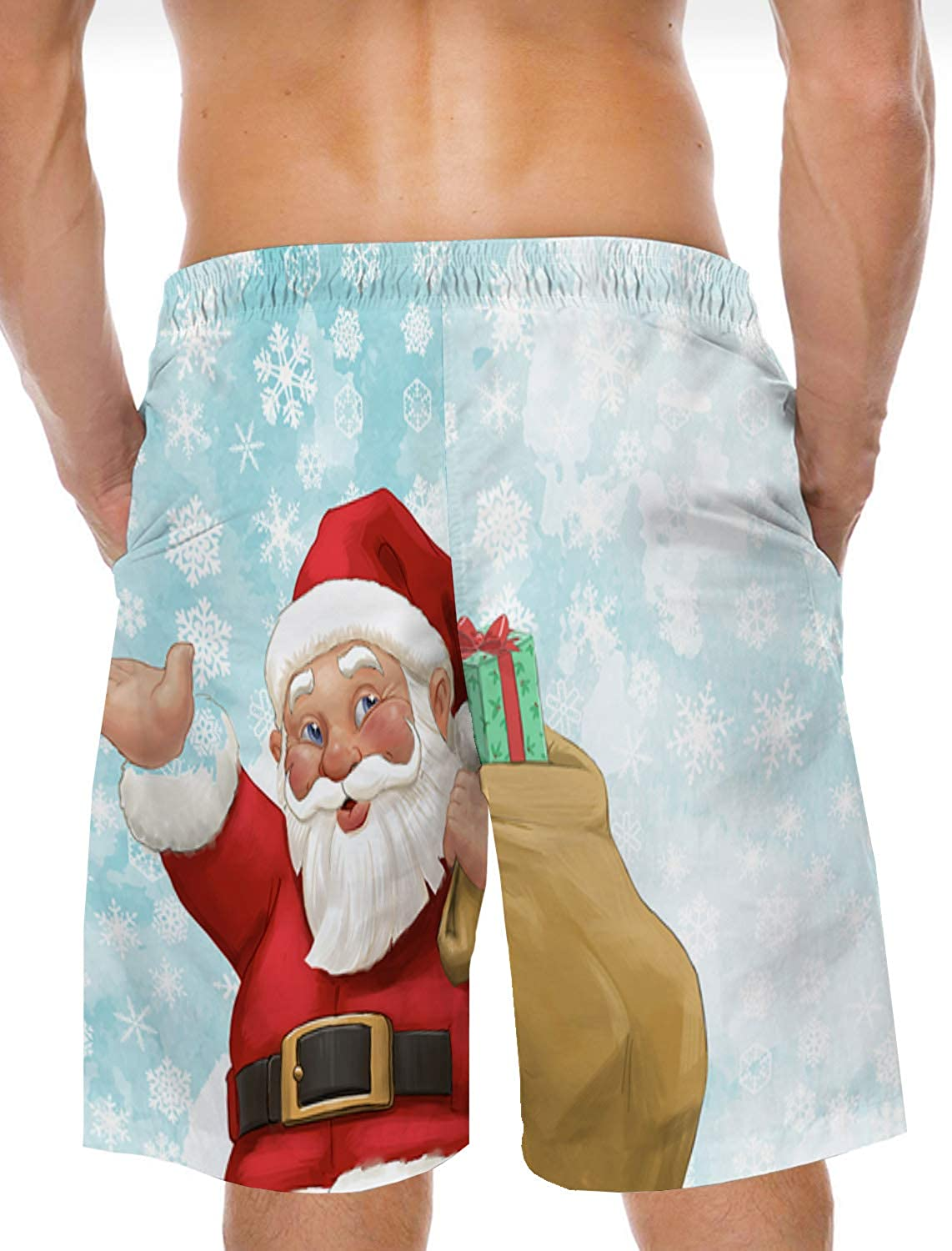 Mens Beach Shorts Christmas Plant Elements Summer Casual Quick Dry Short Pants Stretch Swimming Trunks with Pocket