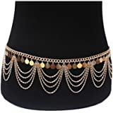 MineSign Vintage Waist Chain Womens Body Chain Jewelry Dancer Boho Indian Waist Belly Chains for Halloween Party Wedding Summer Beach Accessory