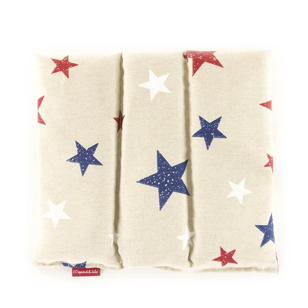Saco Térmico de Semillas aroma Lavanda, Azahar o Romero tejido Gris con Estrellas (Azahar, 23 cm) Saquito de la Salud