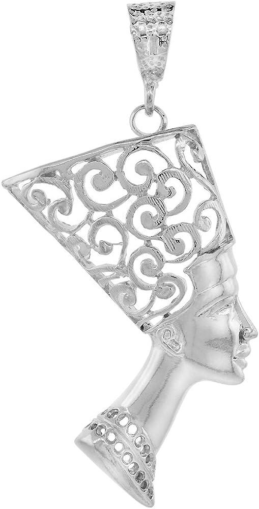 925 Italy Silver 1960/'s Egyptian Revival Style Travel Souvenir Charm Vintage Queen Nefertiti Profile Charm Small Pendant