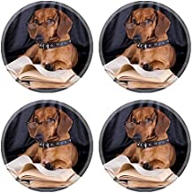 MSD Natural Rubber Round Coasters IMAGE ID: 10142599 puppy purebred dachshund