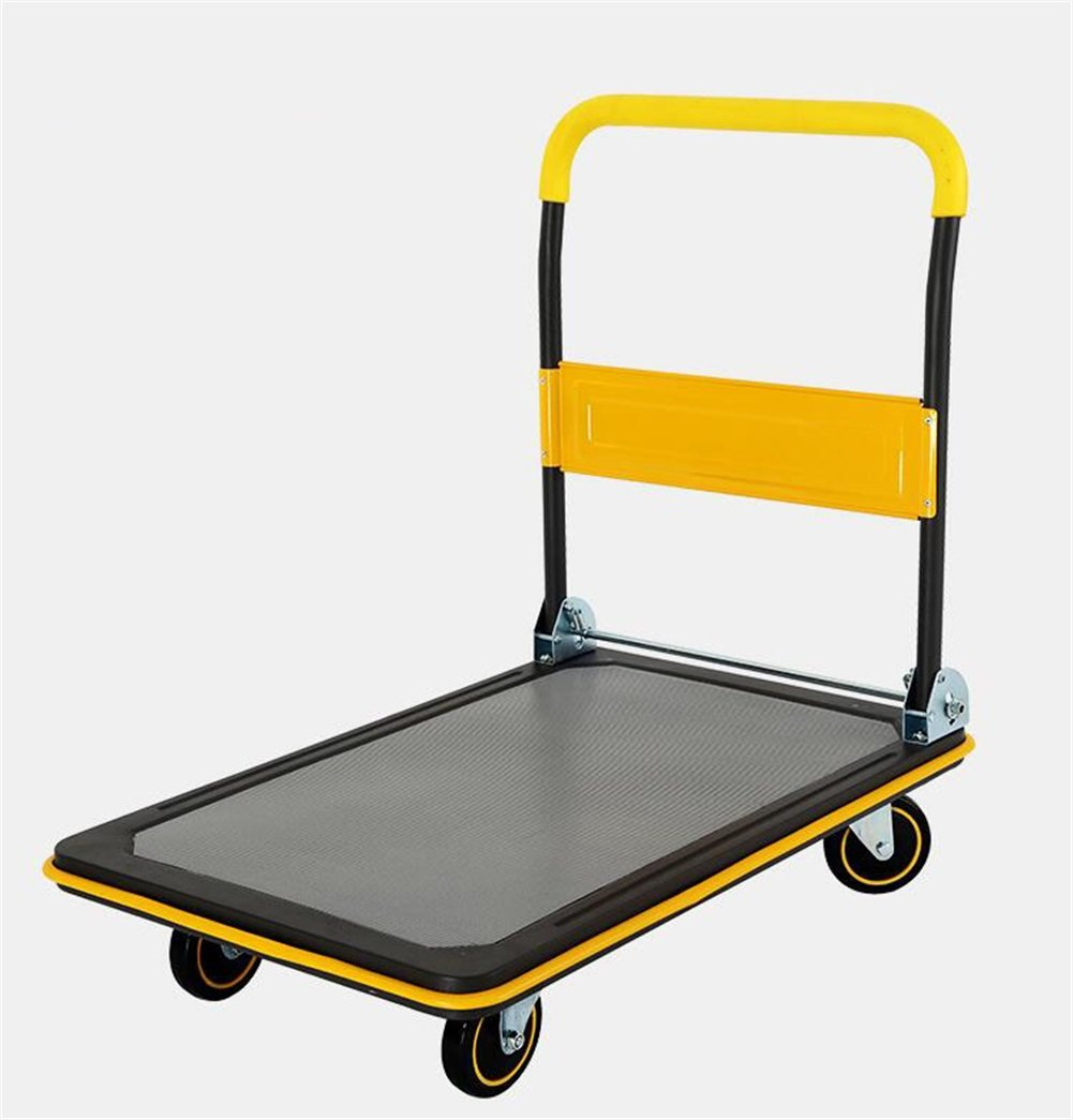 CHS@ ハンドトラック折りたたみフラットベッドトラックプッシュトラックサイレントトロリーハンドカー4ラウンド小型トレーラーユーティリティー車プルトラックバンイエロー/パープルシックニングミュートトロリー荷重150300kg トロリー (色 : 黄, サイズ さいず : 90*60*88cm) B07PVHCX8L 黄 90*60*88cm