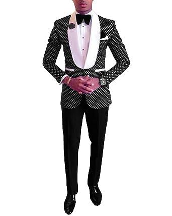 Pretygirl Men\'s Polka Dots Groomsmen Shawl Lapel Suit/Bridegroom ...