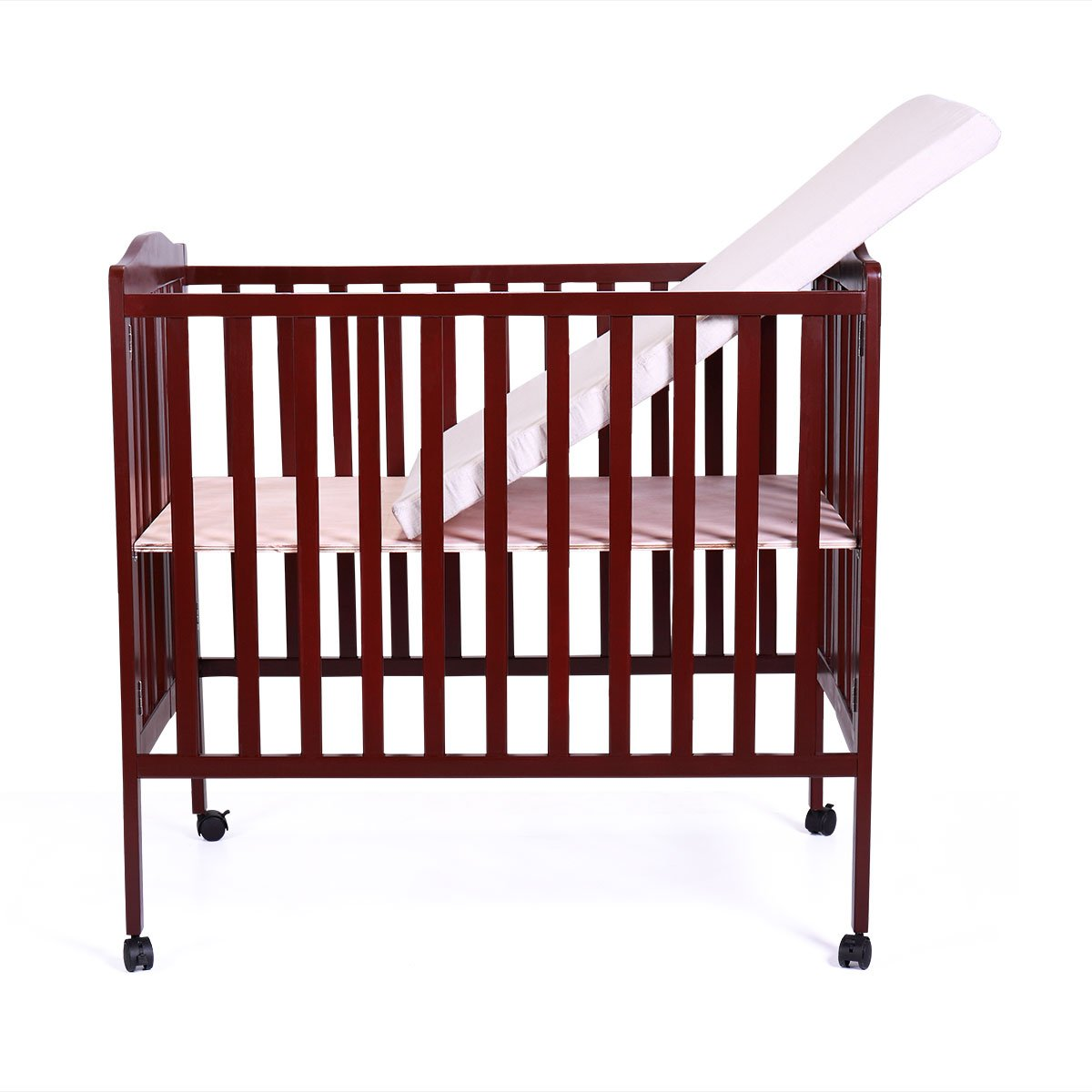 Amazon com lazymoon portable pine wood baby crib toddler bed nursery furniture safety coffee brown baby
