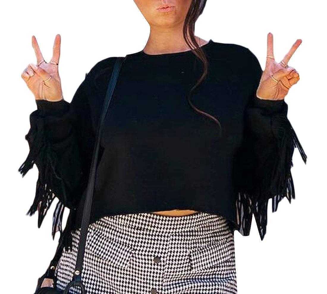 WSPLYSPJY Womens Sweatshirt Solid Round Neck Tassel Long Sleeve Blouse Pullover