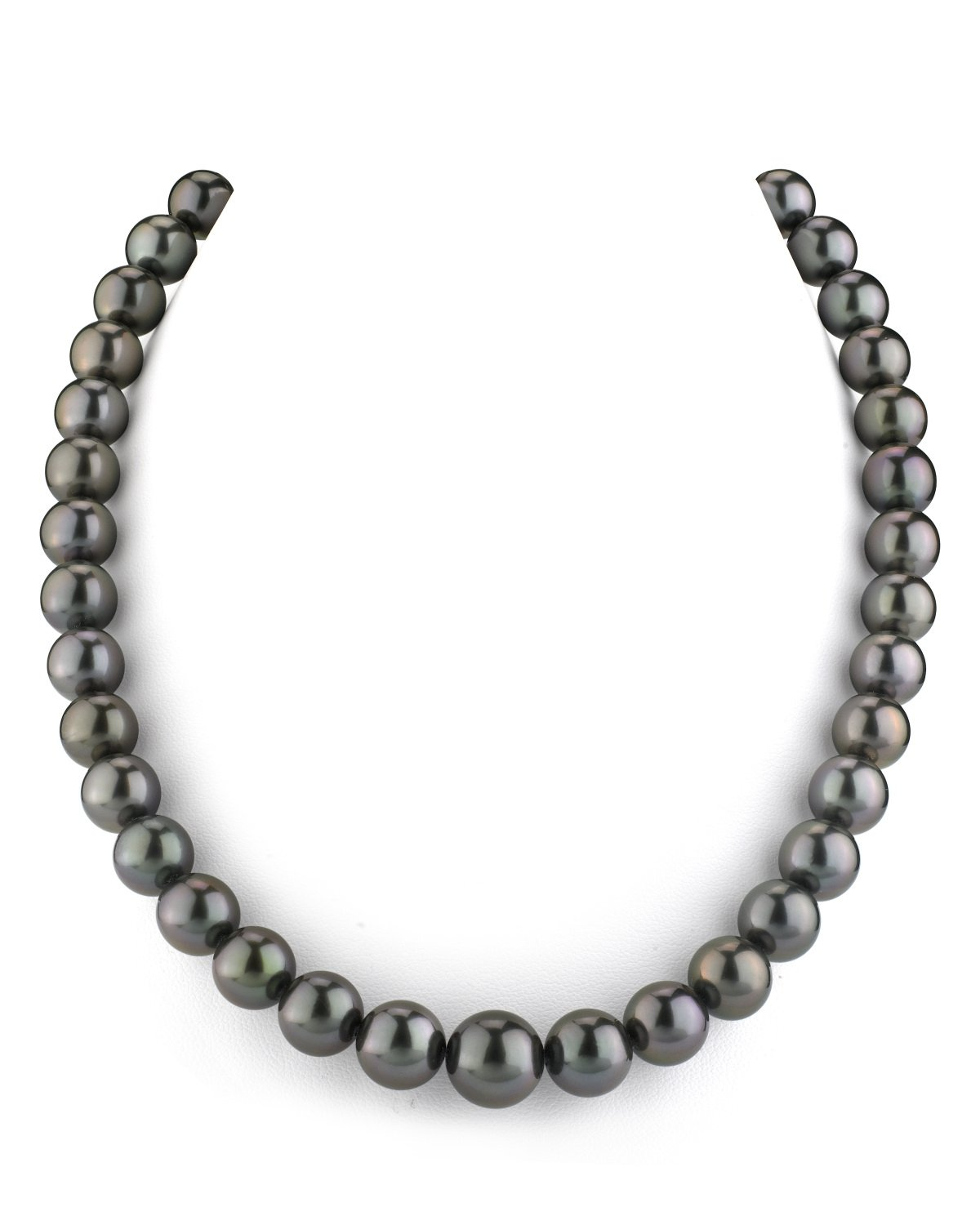 14K Gold 9-11mm GLA CERTIFIED Black Tahitian South Sea Cultured Pearl Necklace - AAAA Quality, 18'' Length