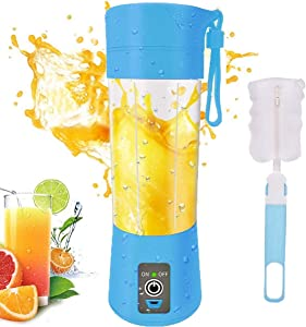 Portable Personal Blender, Household Juicer fruit shake Mixer -Six Blades, BPA Free 380ml Baby cooking machine with USB Charger Cable (blue)