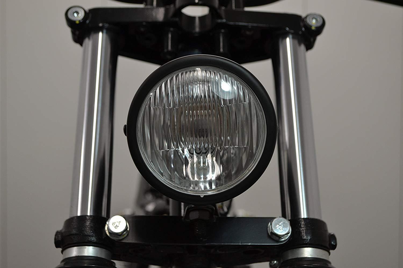 4.5 Vintage Stil Custom Retro Motorrad Scheinwerfer Schwarz Matt