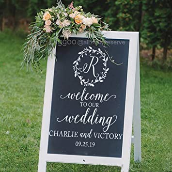 Wedding Decoration Sign Welcome Decal Chalkboard Decals To Our Personalized Name And Est