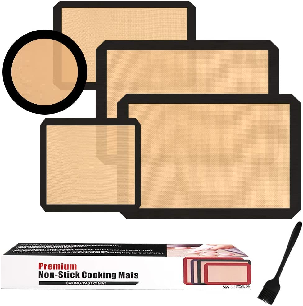 Silicone Baking Mats Set of 5,Non-Stick Reusable Food Safe Oven Pan Liners & Silicone Brush for Macaron,Pastry,Bread,Dough Rolling,Cookie Making