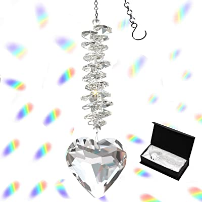 Together-life 45mm/1.77Inch Heart Glass Crystal Ball Prism Pendant, Crystal Suncatcher Clear Faceted Crystal Ornament Rainbow Maker for Windows, Outdoor Garden Hanging Décor(Clear) : Garden & Outdoor