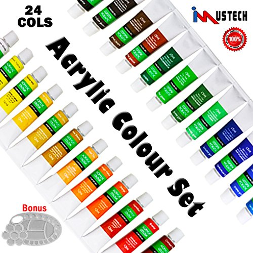 Wall Paint Colour (iMustech Acrylic Paints Set 24 Colors, Acrylic Colour Set with Palette, Art Supplies Painting on Canvas, Wood, Fabric, Rich Pigments Colors Great for Beginners, Artists and Students(24X12ML))