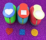 Tech-P Creative Life Paper Craft Punch,Card Scrapbooking Engraving Kid Cut DIY Handmade Hole Puncher-3 Pack (Wave Heart+Wave Circle+Square)