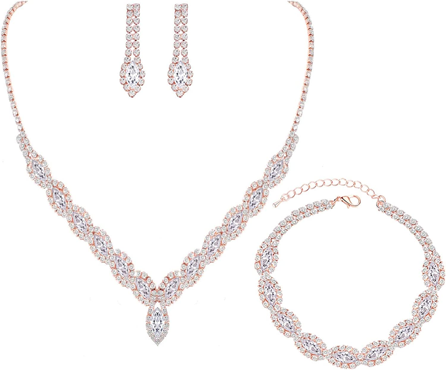 Formal Bridesmaid Champagne Rhinestone Statement Necklace Earring Set Pageant Party Drag Queen Jewelry Bridal Ballroom Dance Necklace