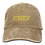 FISIDIMI CAP Chef Unisex Embroidery Cotton Denim Hat Washed Retro Gym Hat