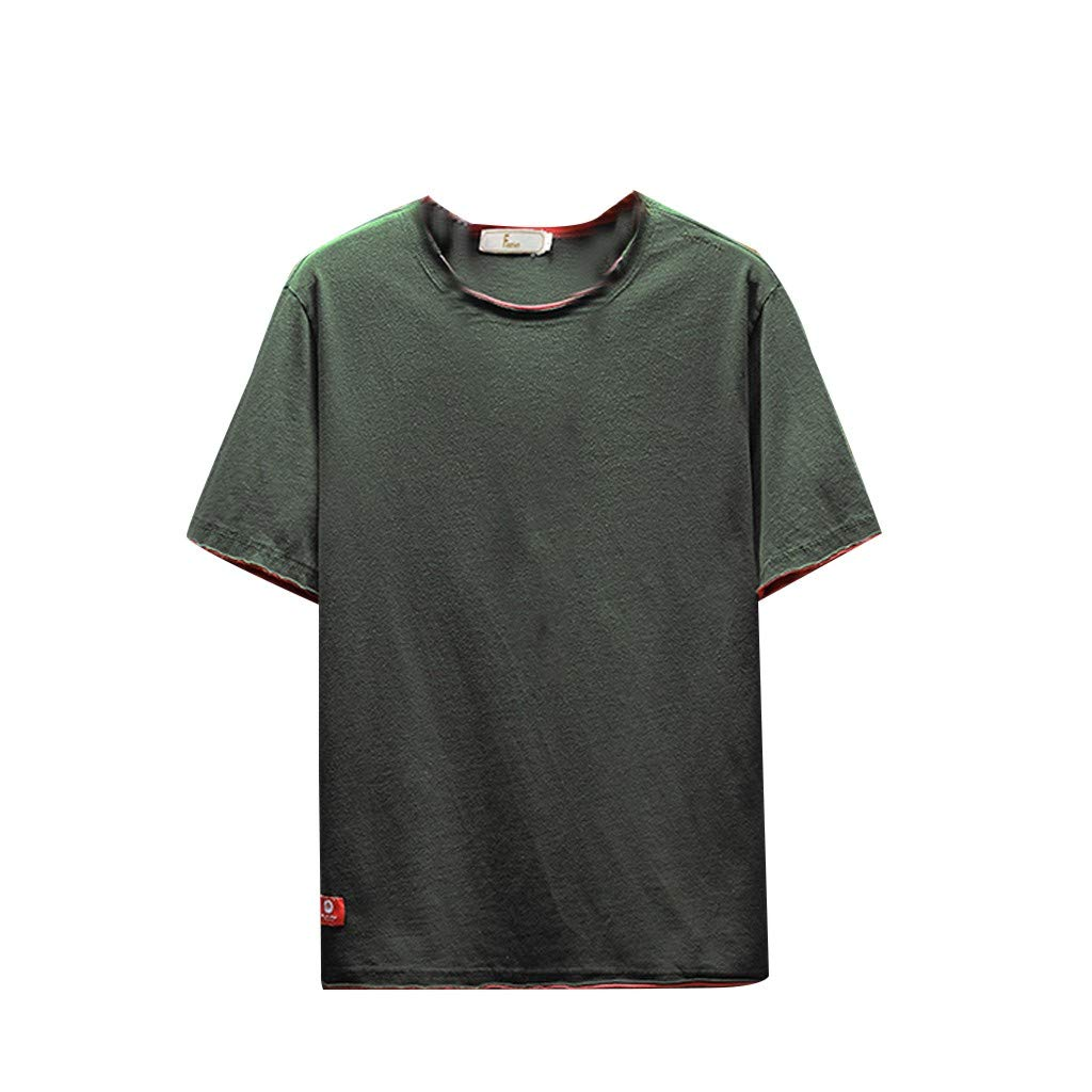 TUSANG Men Tees Summer Casual Fashion Solid Color O-Neck Short Sleeve T-Shirt Top Blouse Loose Fit Comfy Tunic