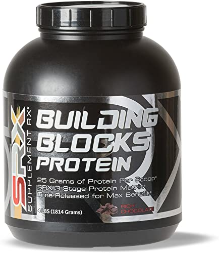 Supplement Rx SRX – Building Blocks Protein Rich Chocolate 4lbs, Whey Protein Concentrate, Whey Protein Isolate, Egg White Protein Powder, Weight Loss, Gluten Free, BCAA, L-Arginine, Protein Shake