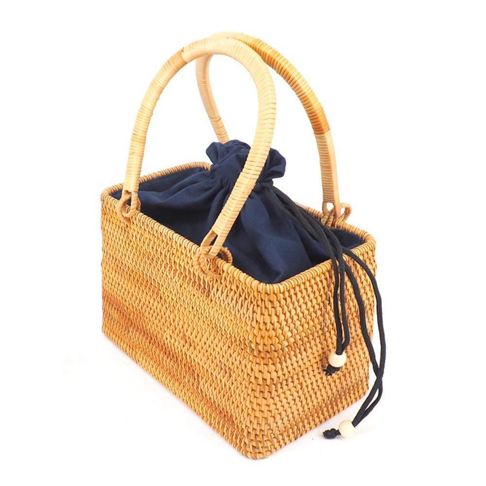 Aidou Hand Woven Woven Rattan Bag Sloping Beach Straw Bag, B Storage Basket Hamper for Bathroom Storage (Size : A)
