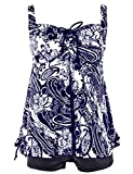 Hilor Women's Plus Size Floral Halter Tankini Set Two Piece Swimsuit