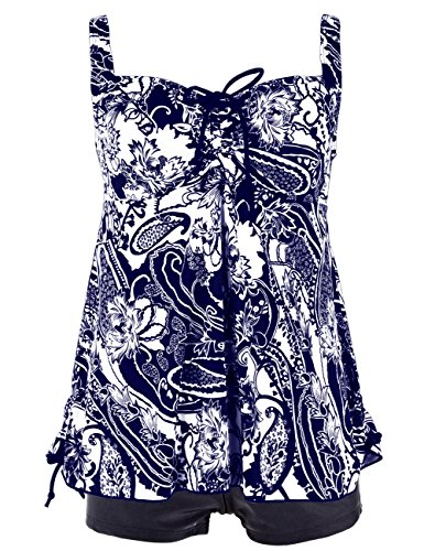 Hilor Women's Plus Size Swimwear Floral Tankini Set Drawtring Modest Two Piece Swimsuit