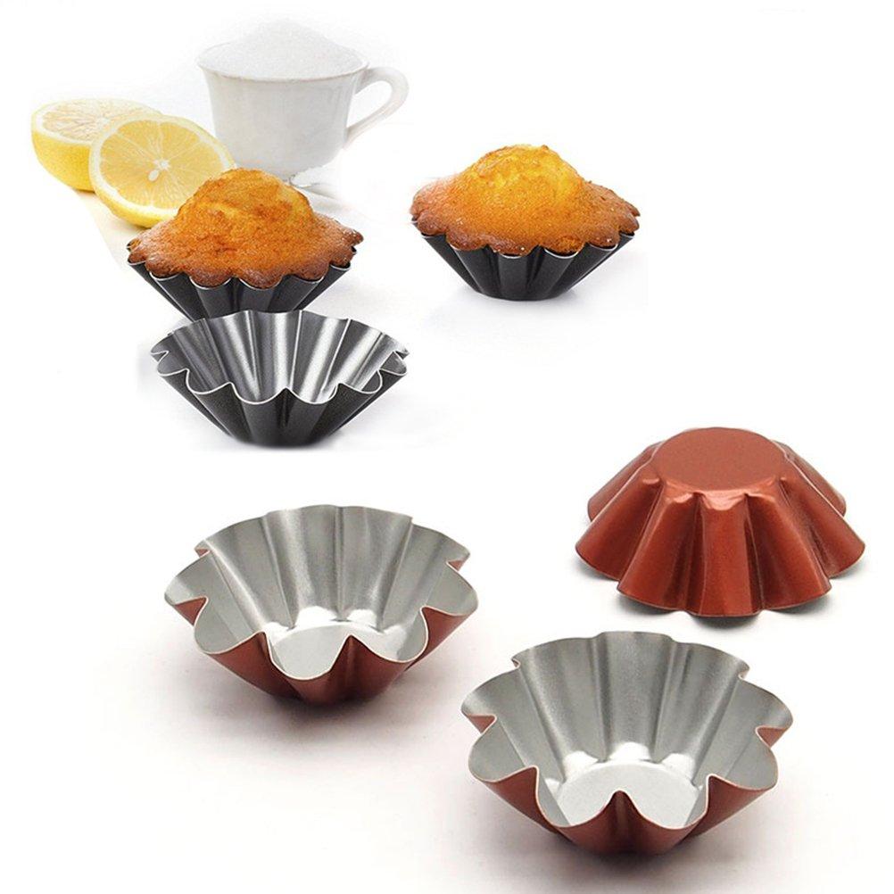 Mini Tart Pans,Non Stick Baking Bake Muffin Cupcake Tin Mold Round Egg Tart Tins,Pack of 10
