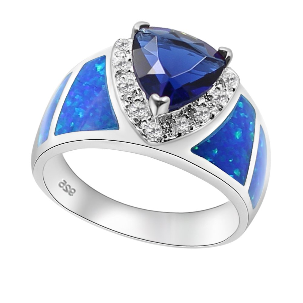 Telitxy Bohemian Style Fashionable Ring with 925 Sterling Silver Created Blue Opal (8)