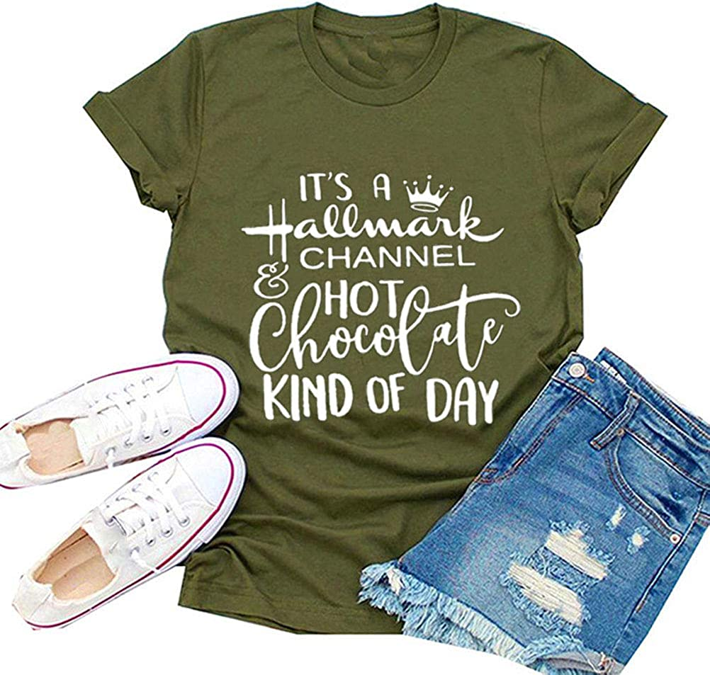YourTops Women It/'s A Christmas Channel Hot Chocolate Kind of Day Shirt
